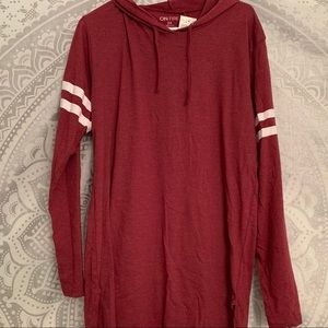 Tops - Red/Maroon Striped Hoodie